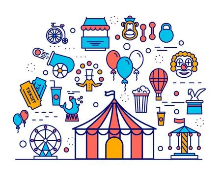 Premium-Qualität Zirkus Umriss Icons Infografik Set. Festival lineares Symbolpaket. Karnevalsshow-Vorlage mit dünner Linie, Logo, Symbolen, Piktogrammen und flachen Illustrationen Vektorkonzept.
