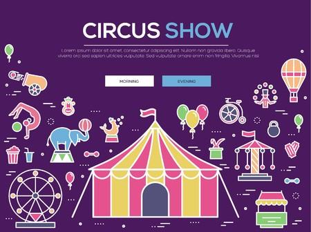 Premium-Qualität Zirkus Umriss Icons Infografik Set. Festival lineares Symbolpaket. Moderne Show-Vorlage aus dünner Linie, Symbolen, Piktogrammen und flachen Illustrationen Vektorkonzept