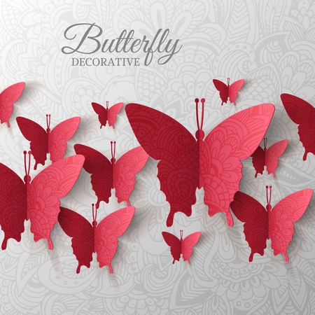 beautiful colorful butterfly background concept. Vector illustration template design Ilustração
