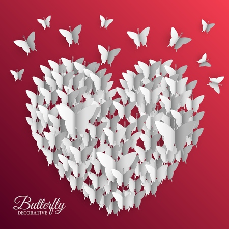 beautiful colorful butterfly heart on valentines day background concept. Vector illustration design. Template for website and mobile appliance Ilustração