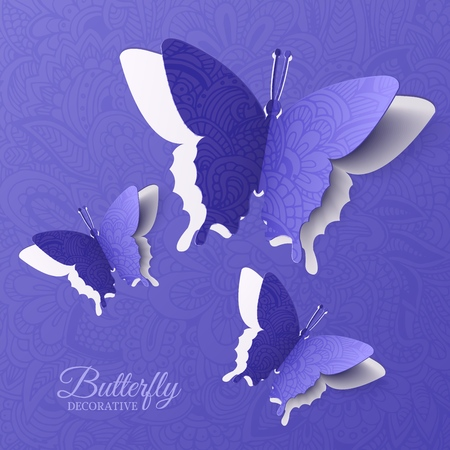 beautiful colorful butterfly background concept. Vector illustration template design Фото со стока - 112592330