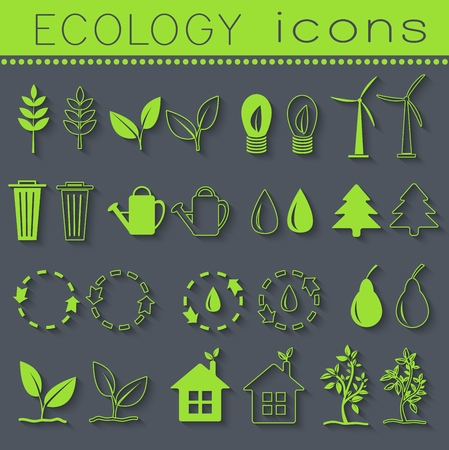 set eco icon on white background. Vector illustration design. Ilustração