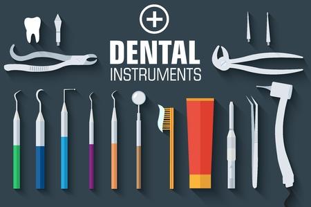 instruments dentaires plats définir l'arrière-plan du concept de design. Illustration vectorielle. Vecteurs