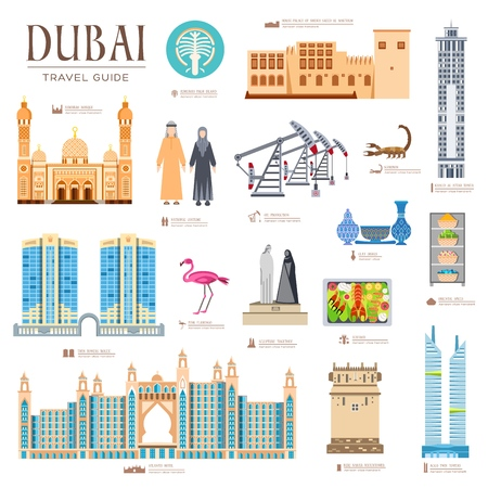 Dubai vector brochure cards set. Country template of flyear, magazines, posters, book cover, banners. Travel invitation concept  background. Layout architecture illustrations modern page Vettoriali