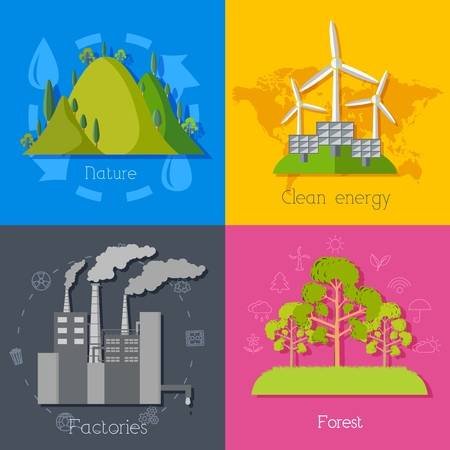 Flat design of ecology, environment, green clean energy and pollution backgrounds. Vector concept illustration