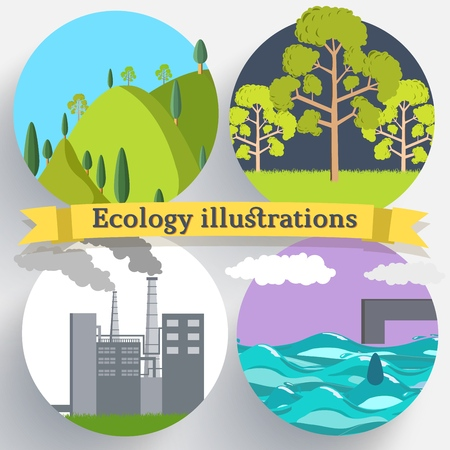 Flat design of ecology, environment, green clean energy and pollution backgrounds. Vector concept illustration.