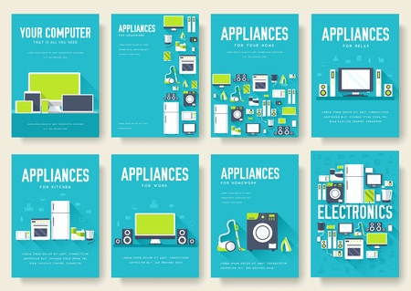 Home appliances cards set. Electronics template of flyear, magazines, posters, book cover, banners. Devices infographic concept background. Layout illustrations template pages with typography text.