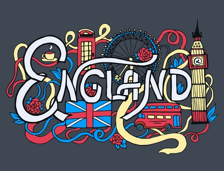 England art abstract hand lettering and doodles elements background. Vector illustration for colorful template for your design, web and mobile applications Illustration