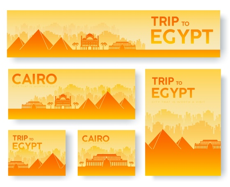 Set of Egypt landscape country ornament travel tour concept. Culture traditional, flyer, magazine, book, poster, abstract, element. Vector decorative ethnic greeting card or invitation design.