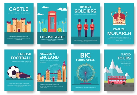 Set of England country ornament travel tour concept. London traditional, magazine, book, poster, abstract, element. Vector decorative ethnic greeting card or invitation design background.