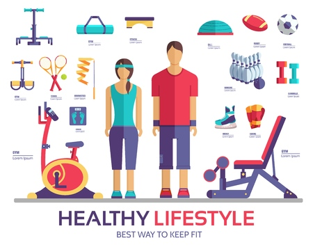 Sport life style infographic device equipment. Fitness icon. Fitness equipment icons gym exercise set. Stock Vector - 112593123