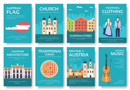 Set of Austria country ornament travel trip concept. Art traditional, magazine, book, poster, abstract, ottoman motifs, element. Vector decorative ethnic greeting card or invitation design background. Ilustração