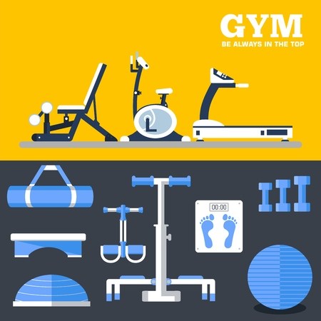 Fitness sport gym exercise equipment workout flat set concept. Vector illustration for colorful template for you design, web and mobile applications