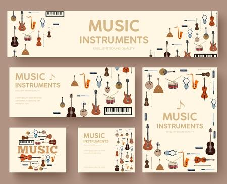 Les instruments de musique du festival entourent le concept de modèle d'infographie. Vector plate avec fond d'illustration grandissime. Conception d'icônes pour votre produit ou vos applications Web et mobiles