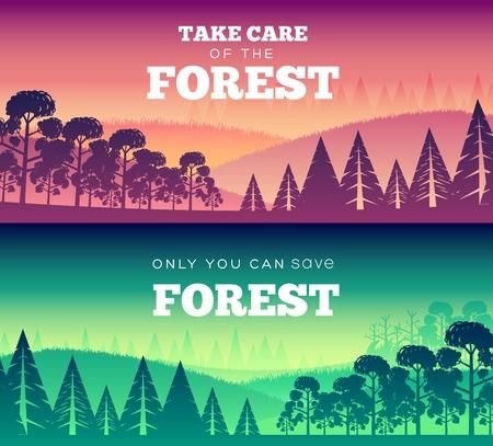 Día de la protección de los bosques contra el fuego. Cuida el diseño del cartel de ilustración del bosque. Concepto de estilo de banners vector plano Ilustración de vector