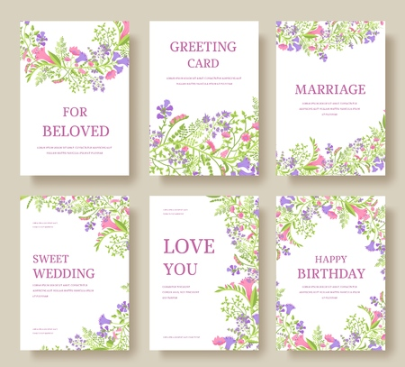Set of flower wedding ornament concept. Art traditional, magazine, book, poster, abstract, element. Vector layout decorative ethnic greeting card or invitation design