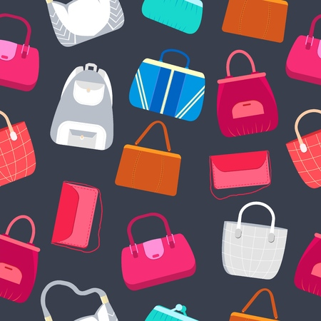 fashion handbags and bags in flat illustration concept icons set. Template for website and mobile appliance.