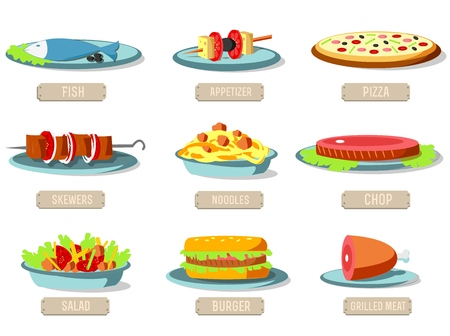 Various dishes icons set concept. Vector illustration design