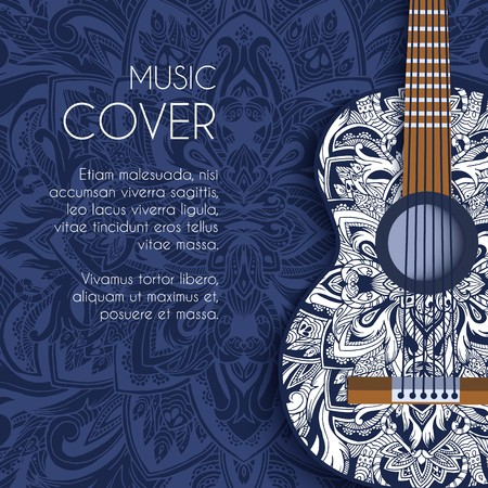 Abstract retro music guitar on blue floral background of the ornament concept. Art decorative, Islam, arabic, indian, ottoman motifs, elements. Vector modern greeting card or invitation