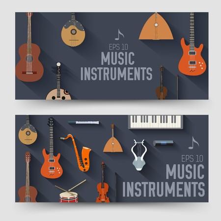 flat music instruments vertical banners concept. Vector illustrator design.