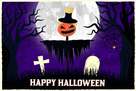 Halloween time background concept in retro style. Vector illustration design. 矢量图像