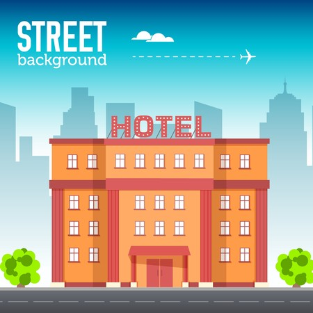 Hotel building in city space with road on flat style background concept. Vector illustration design Illustration