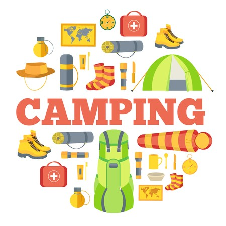 Camping equipment set circle infographics template concept. Icons for your product or design. Vector flat illustration Illustration