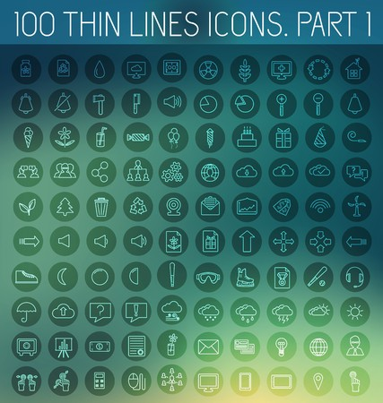 part 1 of collection thin lines pictogram icon set concept background. Vector template design for web and mobile application.