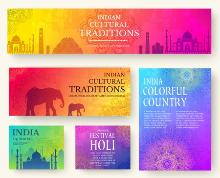 Set of Indian country ornament illustration concept. Art traditional, poster, book, poster, abstract, ottoman motifs, element. Vector decorative ethnic greeting card or invitation design background