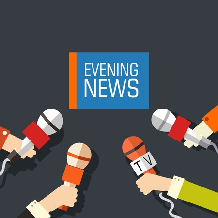 Flat interviewed on television news programs newsmaker background concept. Vector illustration design.