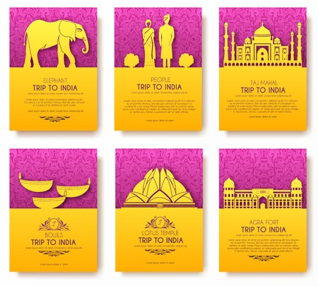 Set of India country ornament travel tour concept. Culture traditional, magazine, book, poster, abstract, element design Illustration