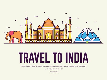 Country India travel vacation of place and feature. Set of architecture, item, nature background concept. Infographic traditional ethnic flat, outline, thin line icon. Ilustração
