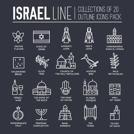Country Israel travel vacation guide of goods, places and features. Set of architecture, fashion, people, items, nature background concept. Infographic template design on flat style design Banco de Imagens - 114368805