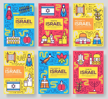 Israel  vector brochure cards thin line set. Country template of flyear, magazines, posters, book cover, banners. Layout culture outline illustrations modern pages design Banco de Imagens - 114368814