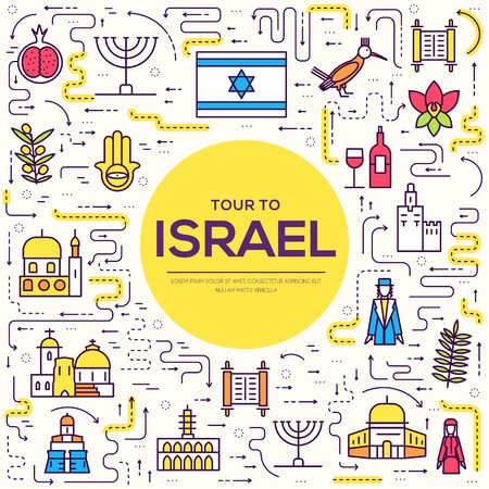 Country Israel travel vacation guide of goods, places and features. Set of architecture, fashion, people, items, nature background concept. Infographic template design on flat style design Banco de Imagens - 114368836