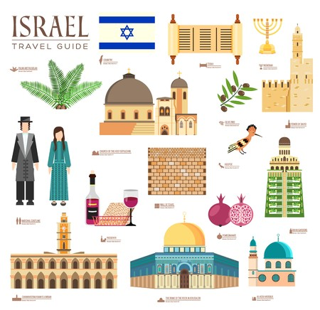 Country Israel travel vacation guide of goods, places and features. Set of architecture, fashion, people, items, nature background concept. Infographic template design on flat style design Illustration
