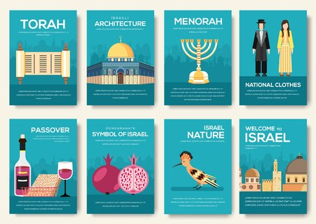 Set of Israel country ornament travel trip concept. Art traditional, magazine, book, poster, abstract, banners, element. Vector decorative ethnic greeting card or invitation design background.