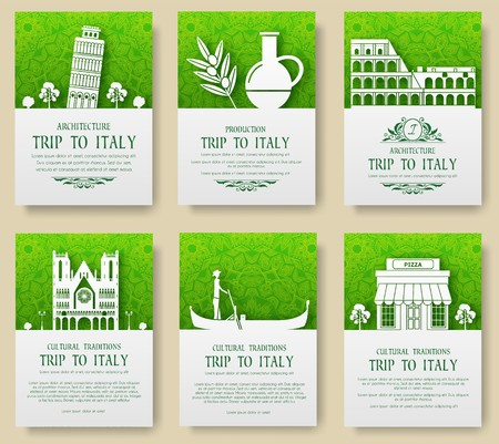 Set of Italy country ornament illustration concept. Art traditional, poster, book, abstract, ottoman motifs, element. Vector decorative ethnic greeting card or invitation design background