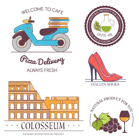 Italy country set label. Template of emblem element for your product or design, web and mobile applications with text. Vector illustration with thin lines isolated icons on stamp symbol