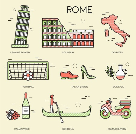 Country Italy trip guide of goods, places in thin lines style design. Set of architecture, fashion, people, items, nature background concept. Infographic template for web and mobile on vector flat .