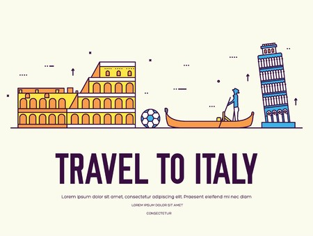 Country Italy travel vacation of place and feature. Set of architecture, item, nature background concept. Infographic traditional ethnic flat, outline, thin line icon design