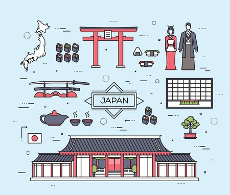 Country Japan travel vacation guide of goods, place and feature. Set of architecture, fashion, people, item, nature background concept. Infographic traditional ethnic flat, outline, thin line icon.
