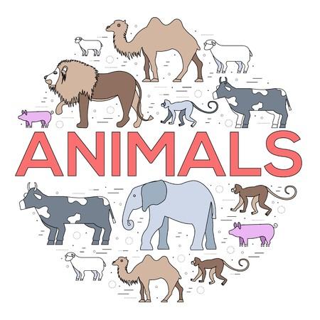 animal round concept icon of lion, monkey, camel, elephant, cow, pig, sheep. Vector wild life illustration background design