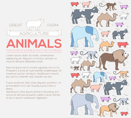 animal concept icon of lion, monkey, camel, elephant, cow, pig, sheep. Vector wild life illustration background design Ilustração