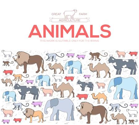 animal concept icon of lion, monkey, camel, elephant, cow, pig, sheep. Vector wild life illustration background design