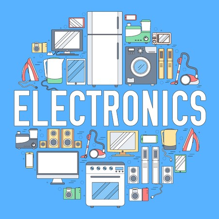 Home electronics appliances circle infographics template concept. Icons design for your product or design, web and mobile applications. Vector flat  illustration on blue background. 向量圖像