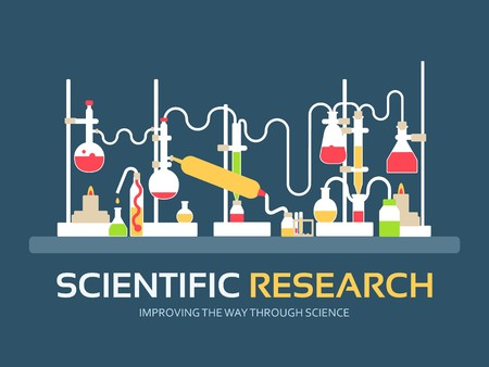 Scientific research in flat design background concept. laboratory equipment supplies with chemistry tools. Icons for your product or illustration, web and mobile applications.