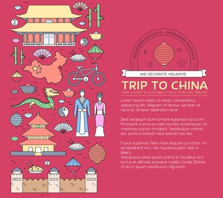 Country China travel vacation guide of goods, places in thin lines style design. Set of architecture, fashion, people, nature background concept. Infographic template for web and mobile on vector flat Illusztráció