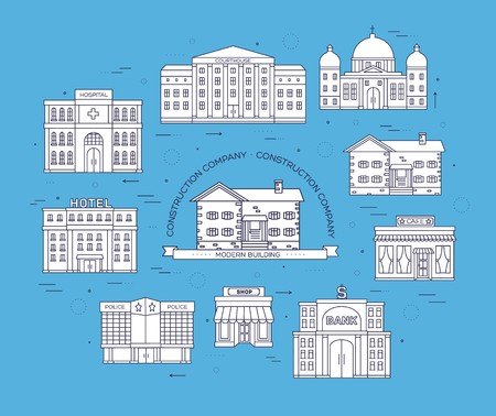 Thin lines city buildings set. Icon background concept design. Architecture construction courthouse, home, museum, hospital, hotel, opera theater Vector urban landscape