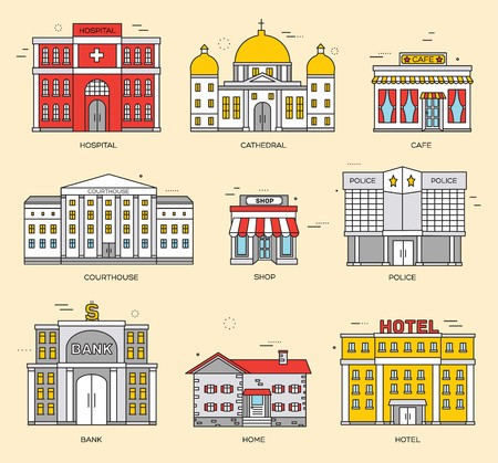 Thin lines colorful city buildings set. Icon background concept design. Architecture construction courthouse, home, museum, skyscraper, hospital, hotel, opera theater Vector urban landscape